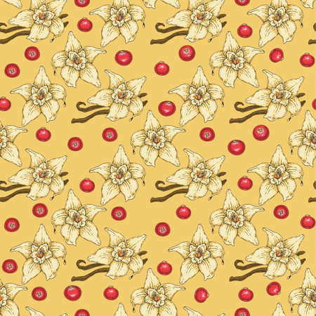 Seamless Pattern with Cranberries, Vanilla Flower and Two Sticks on Yellow Background
