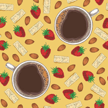 Seamless Vector Pattern with Coffee, White Chocolate, Almond and Strawberry on Yellow Background