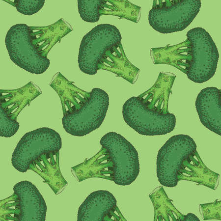 Seamless Vector Pattern with Fresh Whole Green Broccoli Ilustração