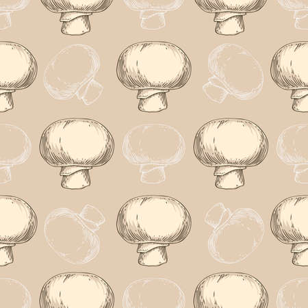 Seamless Pattern with Whole Champignon Mushrooms on Beige Background Ilustração