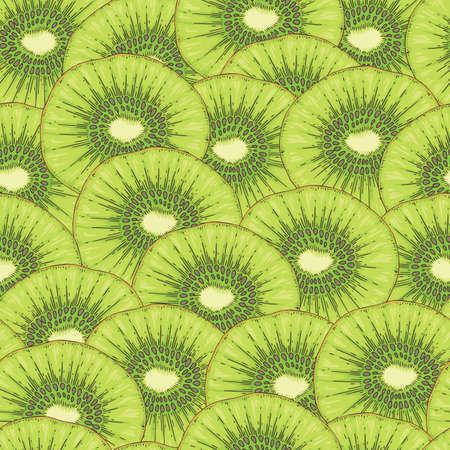 Ripe Kiwi Fruit Slice. Seamless Pattern