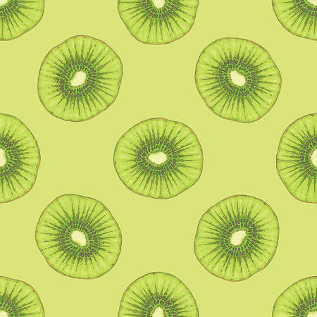 Ripe Kiwi Fruit Slice on Green Background. Vector Seamless Pattern.