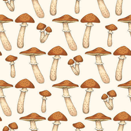 Honey Fungus or Armillaria mellea. Honey Agaric. Edible Mushroom Seamless Pattern
