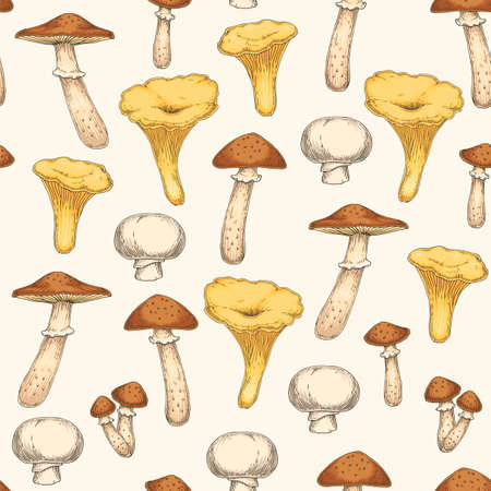 Seamless Pattern with Edible Mushroom. Honey Agaric, Chanterelle, Champignon