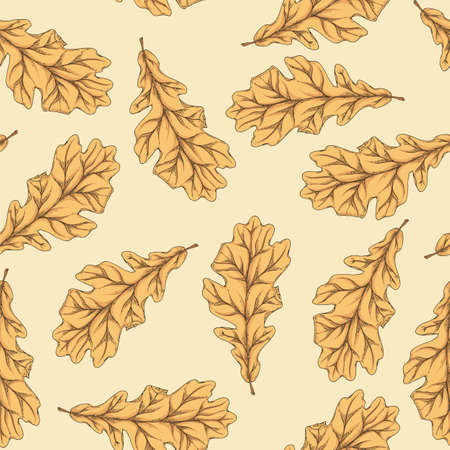 Brown Dried Oak Leaf Seamless Pattern on Light Background