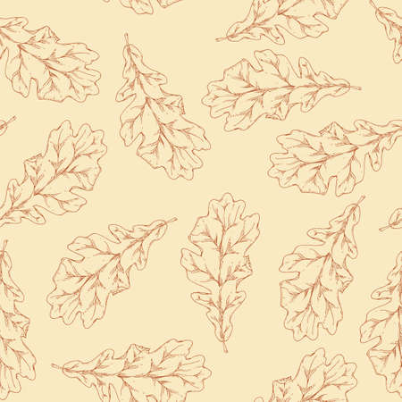 Brown Contours of Dried Oak Leaf Seamless Pattern. Beige Background