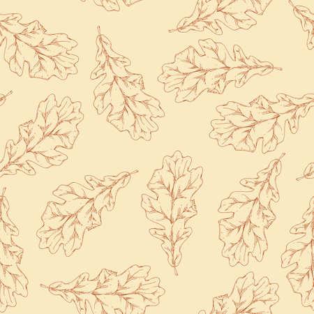 Brown Contours of Dried Oak Leaf Seamless Pattern. Beige Background