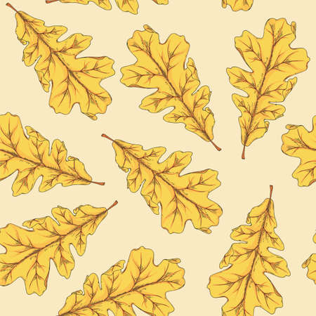 Yellow Oak Leaf Seamless Pattern on Light Background