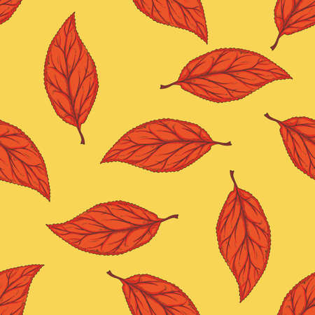 Seamless Pattern with Red Dried Beech Leaf on Yellow Background