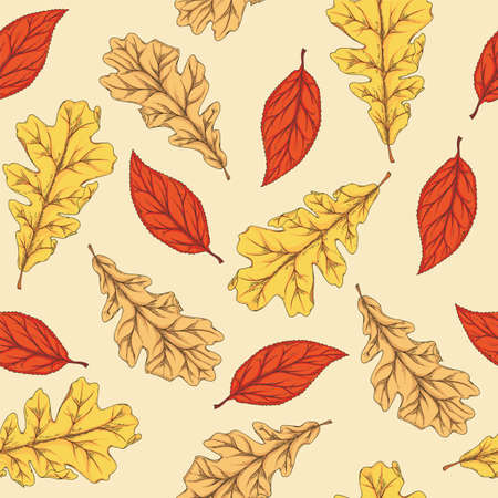 Seamless Pattern with Autumn Leaves on Beige Background