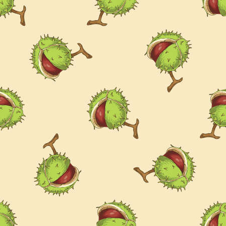 Seamless Pattern with Horse Chestnut. Aesculus on Beige Background