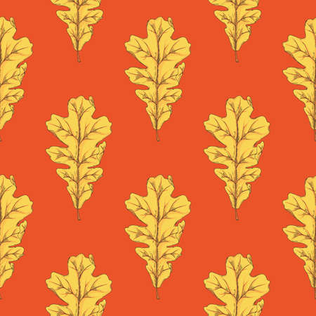 Yellow Oak Leaf Seamless Pattern on Red Background