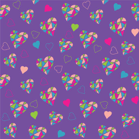 Seamless Vector Pattern with Hand Drawn Color Hearts on Proton Purple Background Ilustração