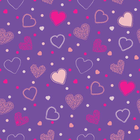 Valentine Seamless Pattern with Pink Hearts on Proton Purple Background Ilustração