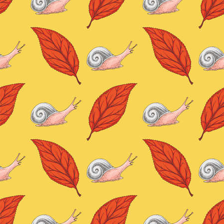 Seamless Pattern with Red Dried Beech Leaf and Snails on Yellow Background