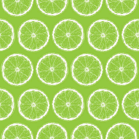 Seamless Pattern with White Contours of Lime Slices on Green Background Ilustração