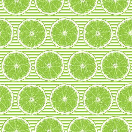 Modèle sans couture avec des contours blancs de tranches de citron vert sur fond rayé vert et blanc Vecteurs