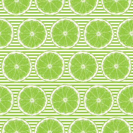Seamless Pattern with White Contours of Lime Slices on Striped Green and White Background Ilustração