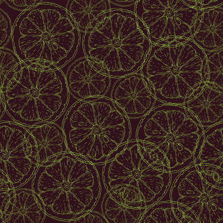 Seamless Pattern with Green Contours of Lime Slices on Dark Brown Background Ilustração