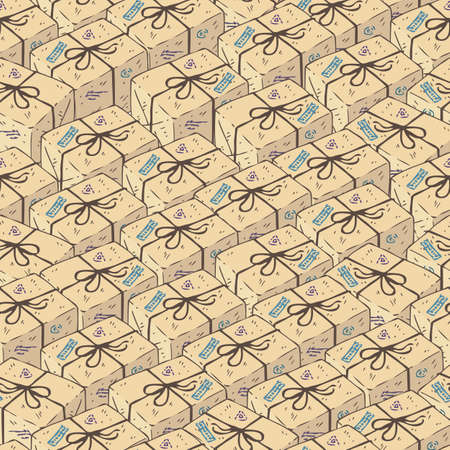 Seamless Pattern with Beige Parcel Boxes. Vector Illustration Ilustração