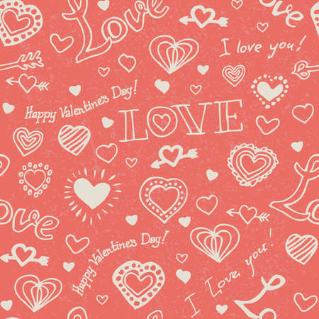 Seamless Vector Pattern with Beige Hand Drawn Hearts and Lettering on Pink Coral Background