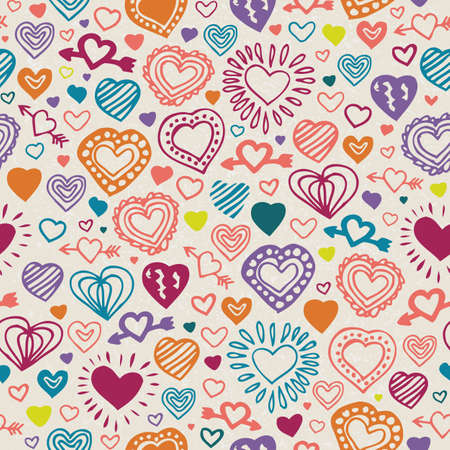 Seamless Vector Pattern with Hand Drawn Color Hearts on Beige Background