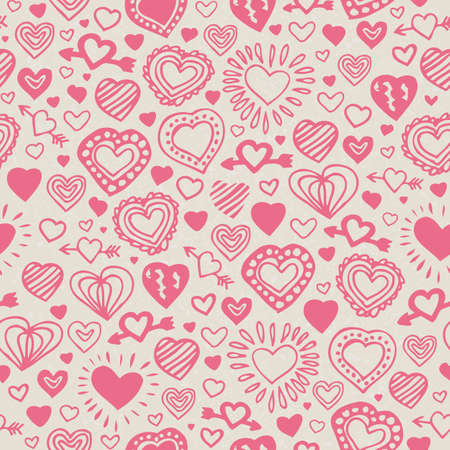 Seamless Vector Pattern with Hand Drawn Coral Pink Hearts on Beige Background Ilustração