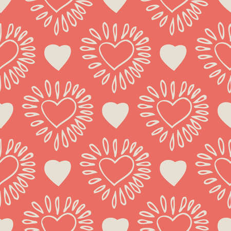 Seamless Vector Pattern with Beige Hand Drawn Hearts on Pink Coral Background Ilustração