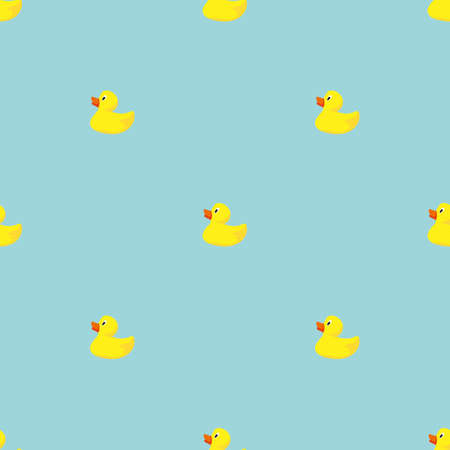 Simple Flat Seamless Pattern with Yellow Rubber Ducks on Blue Background