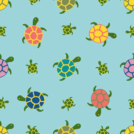 Underwater Sea Life with Color Turtles. Blue Background. Vector Seamless Pattern in Flat Style