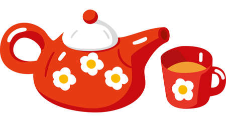 Red Teapot and Cup. Illustration in Flat Style