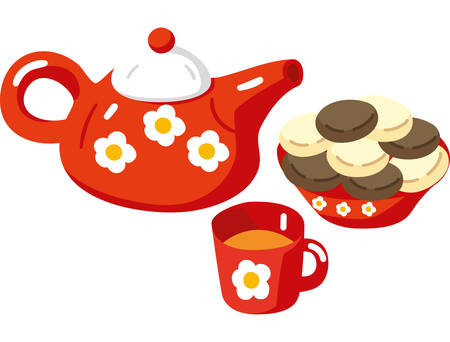 Red Teapot, Cup and Cakes. Illustration in Flat Style