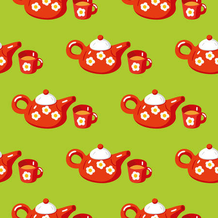 Seamless Pattern with Red Teapot and Cup on Green Background. Flat Style Vector Illustration