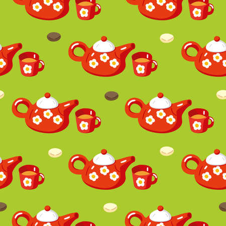 Seamless Pattern with Red Teapots, Cups and Macaroons on Green Background. Flat Style Vector Illustration