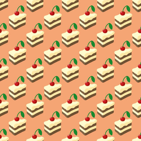Simple Flat Seamless Pattern with Cakes on Pink Background