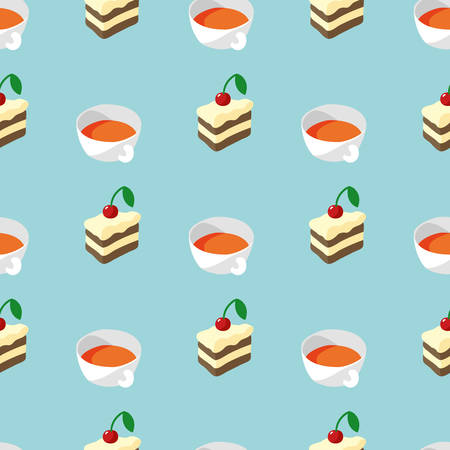 Simple Flat Seamless Pattern with Cakes and Cups with Tea on Blue Background