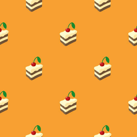 Simple Flat Seamless Pattern with Cakes on Orange Background