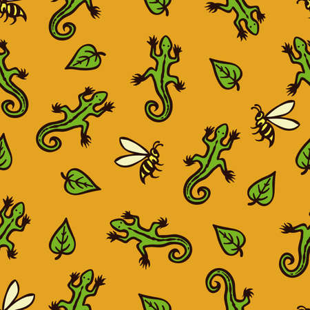 Seamless Pattern with Lizards, Bees and Leaves on Orange Background
