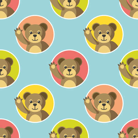 Cute Little Animals Seamless Pattern. Bears in Color Circles on a Blye Background. Flat Slyle