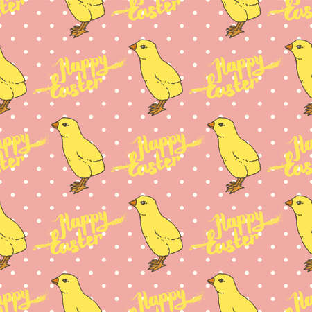Happy Easter Seamless Pattern. Little Yellow Chickens on Pink Background with White Dots