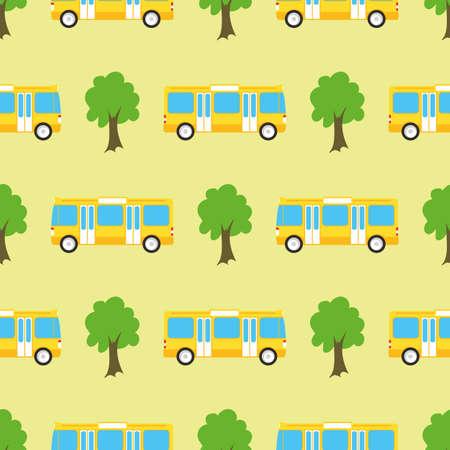 Yellow City Bus Seamless Pattern