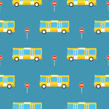 Simple Seamless Pattern. Yellow Buses and Stop Signs on Blue Background