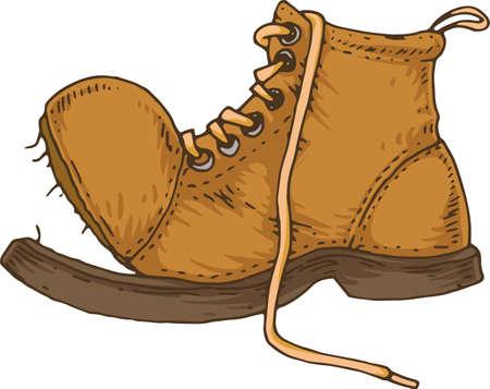 Alte zerrissene braune Stiefel isoliert auf weißem Hintergrund