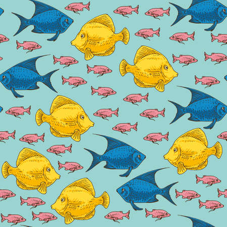 Seamless Pattern with Yellow, Blue and Pink Exotic Fish. Blue Background