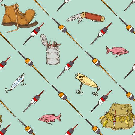 Fishing Supplies Seamless Pattern on Light Blue Background