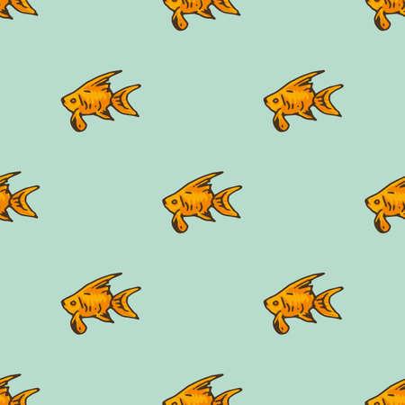 Goldfish Seamless Pattern on Light Blue Background Ilustração