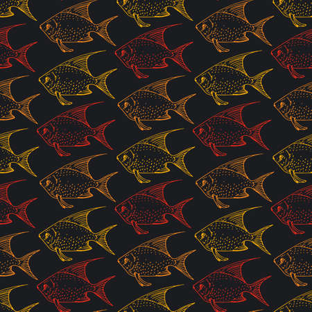 Seamless Pattern with Red, Orange and Yellow Contour of Goldfishes. Black Background