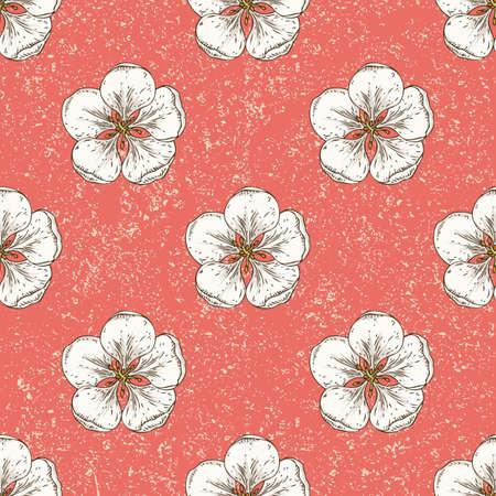 Apple Flowers Seamless Pattern Ilustración de vector