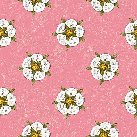 Strawberry Flowers Seamless Pattern