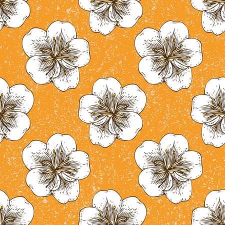 Apricot Flowers Seamless Pattern